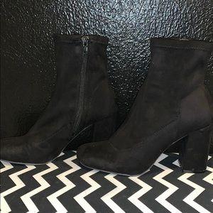 MIA black velvet ankle boots